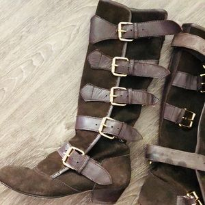 Boho Hippie Festival Suede Knee High Buckle Boots
